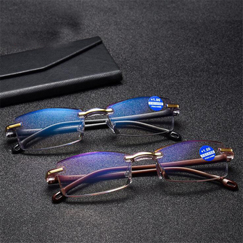 Luxury Diamond Cutted Shape Reading Glasses Men Women Anti-fatigue Rimless Readers Farsighted Eyeglasses +1 +1.5 To +4.0 image
