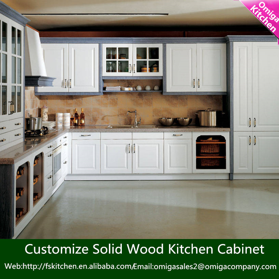 Foshan Factory Modern Modular Solid Wood Kitchen Cabinet Simple