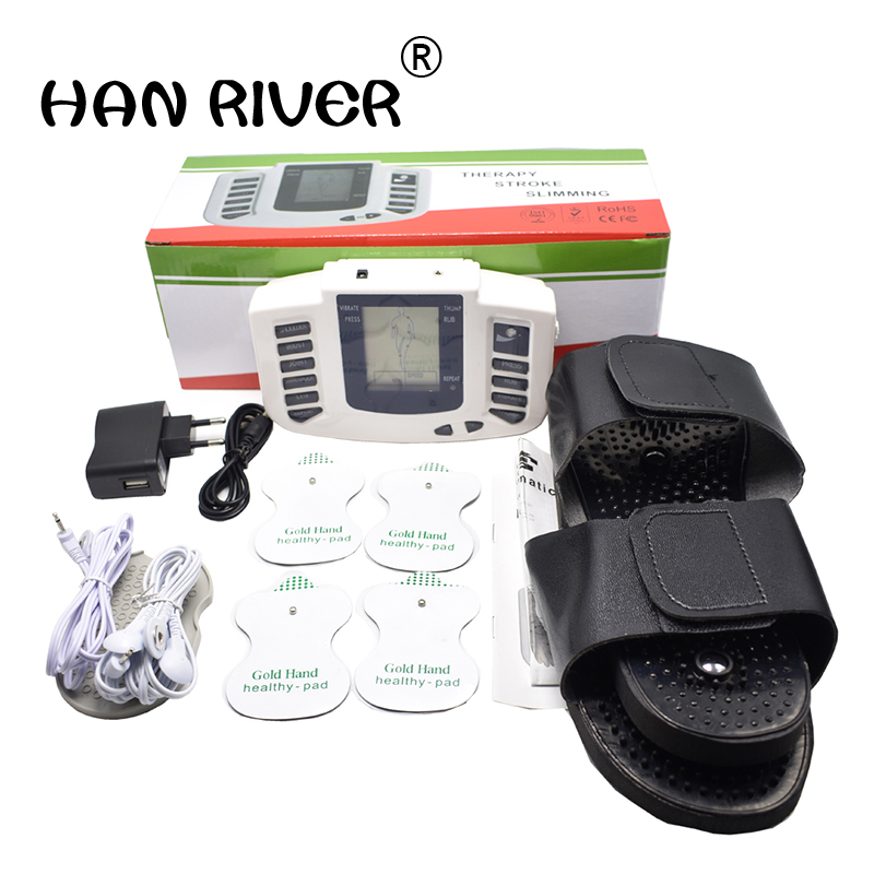 JR-309  Muscular Body Household  Relax Muscle Pulse Tens Acupuncture Therapy Slipper+4 Patch Acupuncture Massage Instrument