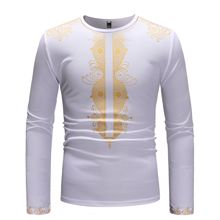 New fashion autumn/winter 2019 men's African print t-shirts with long sleeves and round neck navy print hot drilling round neck long sleeves t shirt