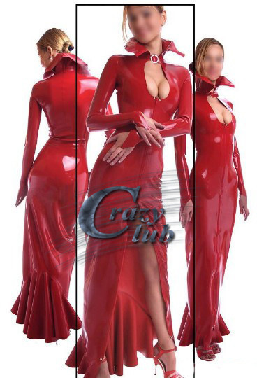 Buy Crazy club_Long dresses women Sexy Full sleeve latex gowns red fetish rubber vestidos maxi dress celibrity dresses Sale line