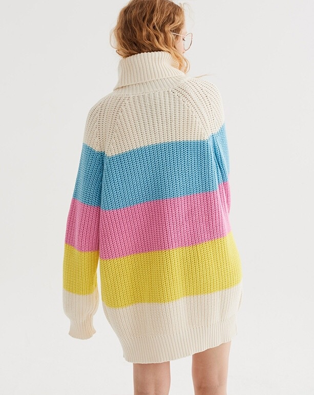 b986ea2dc 2018 winter retro cute kawaii sweet rainbow pink striped turtleneck loose  long sweater dress knitting pull femme-in Pullovers from Women s Clothing  on ...