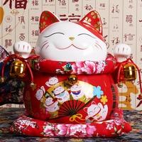 10 inch Ceramic Maneki Neko Ornament Lucky Cat Money Box Fortune Cat Figurine Porcelain Sculpture Piggy Bank Mascot Gift