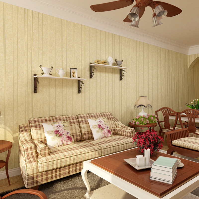 beibehang American country living room with high environmental wallpaper retro nostalgia Wide vertical stripes wallpaper beibehang 2017 new environmental