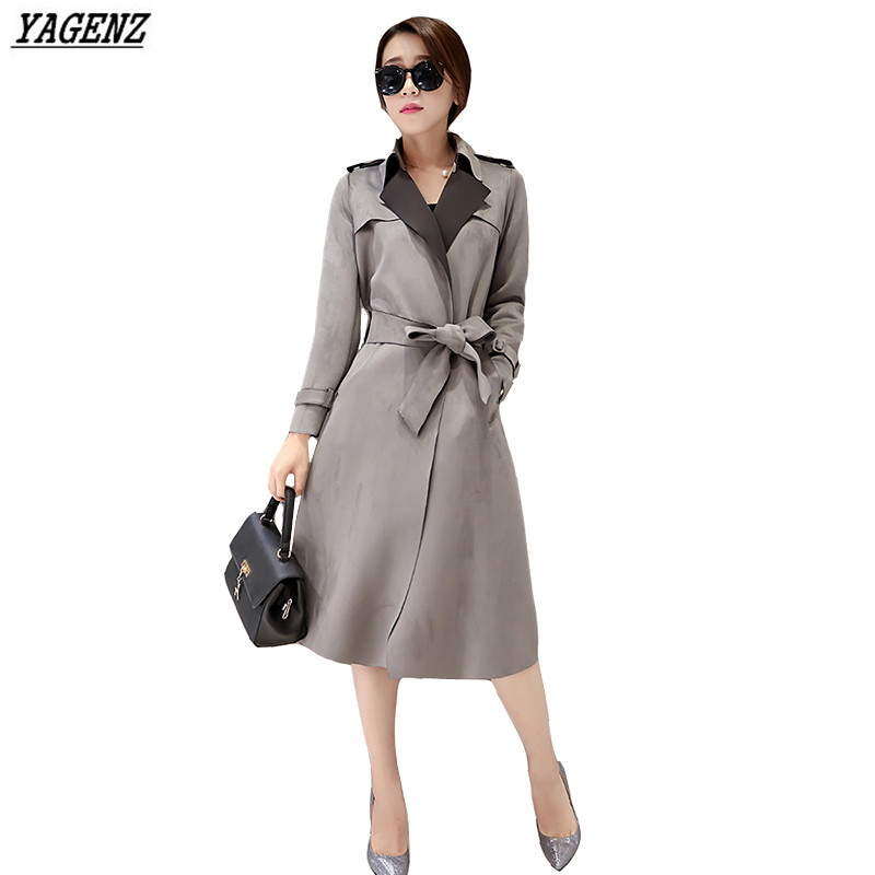 Plus Size Women jacket 2017 Autumn NEW Faux Suede Medium Long Female Windbreaker Coat Lady Elegant Winter Outerwear YAGENZ K314