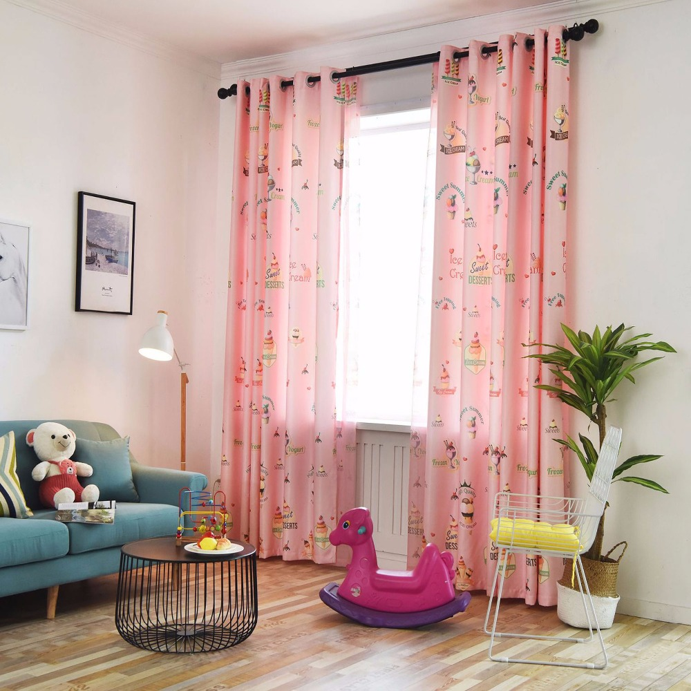 US $13.65 35% OFF|Customized children\'s room curtains shade cartoon ice  cream print boy girl bedroom curtains-in Curtains from Home & Garden on ...