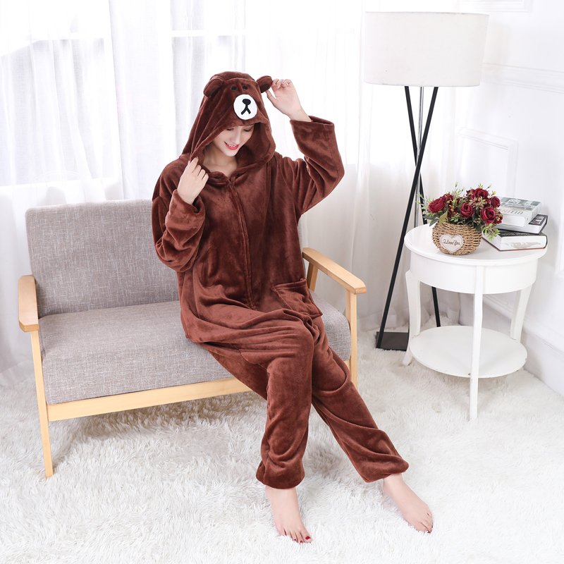 Adorable Brown Bear Kigurumi Onesie For Adults One-Piece Warm Flannel Animal Zipper Pajamas For Halloween Cosplay Party Costume (5)