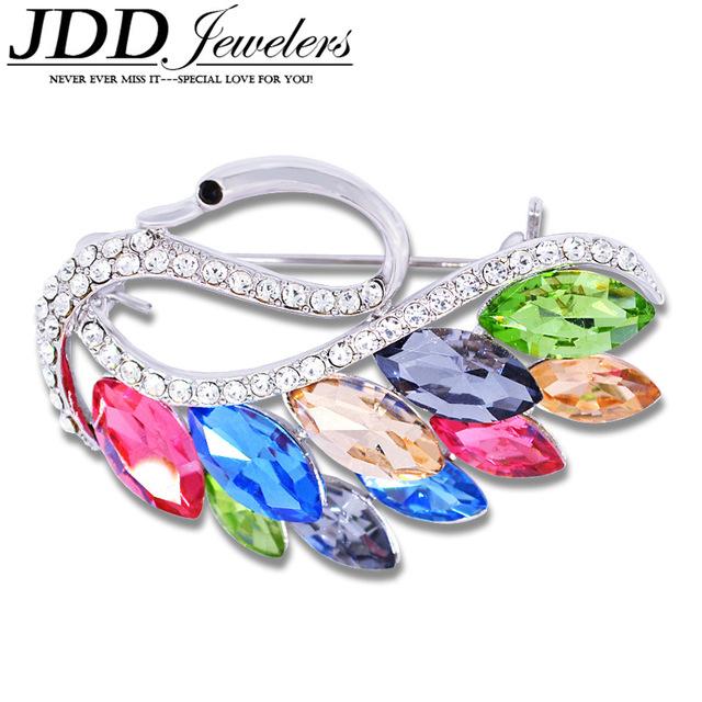 YNB Clássico Mulheres Luxry Cristal Swan Broches Bijuterias Azul Rosa De Prata Broches Animais para As Mulheres