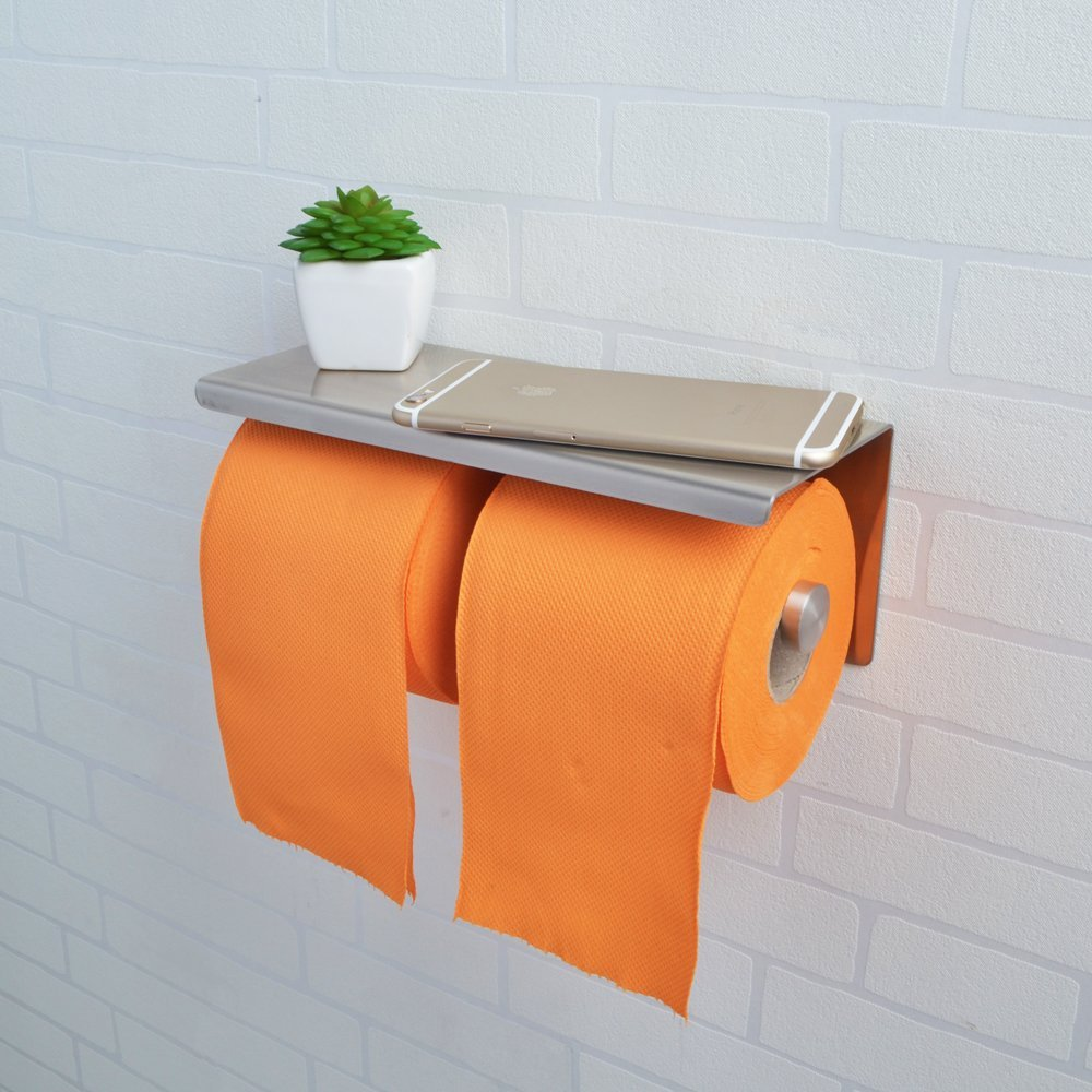 Bathroom towel and toilet paper holders - Wall Mount Brushed Stainless Steel Double Roll Toilet Paper Holder Storage Bathroom Towel Dispenser Tissue Roll