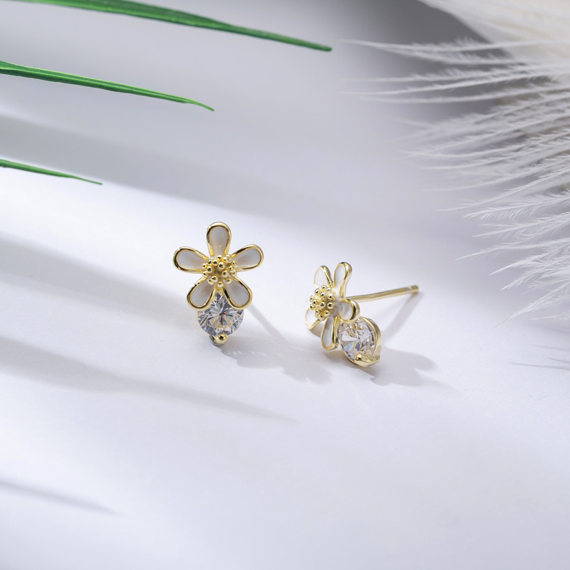 Cute Flower Cubic Zircon 925 Sterling Silver Stud Earrings for Womens Fashion Girls Gold Color Earings Brincos Christmas Jewelry