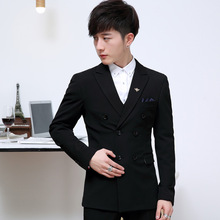 2017 Youth Wedding Suits Classic Three Piece Men Suit Terno Masculino Slim Solid Double Breasted Male Formal Business Suits Set