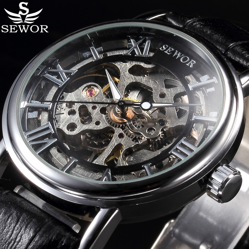 SEWOR Luxury Brand Mechanical Watch Relogio Skeleton Wristwatches Men Roman Numerals Male Casual Clock Leather Fashion Watches все цены