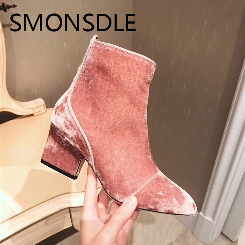 SMONSDLE New Fashion Black Pink Soft Suede Round Toe Women Ankle Boots Side Zip Thick Heel Women Autumn Boots Shoes Woman smonsdle 2018 new woman ankle boots shoes side zip thin high heels pointed toe kid suede boots designer woman autumn winter boot