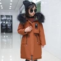 Зимнее длинное пуховое пальто с мехом для девочек подростков, темно синее животное енот, комбинезоны для девочек, Подростковая куртка детск