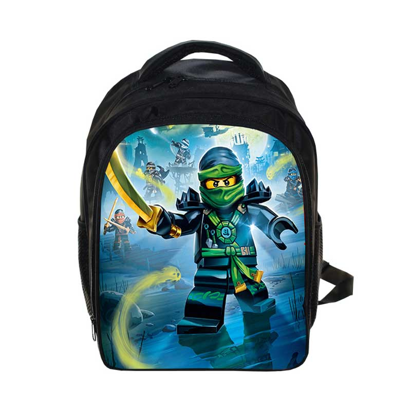 Cartoon Students School Bag LEGO Pattern Backpack