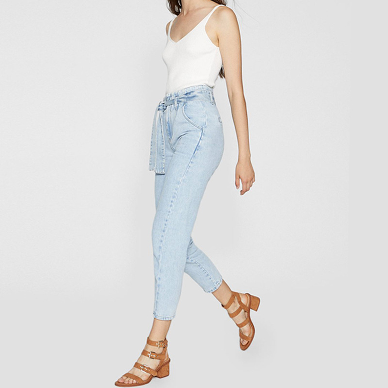 Spring Summer High Waist Tie Jeans  Cotton  Calf-Length Pants  Pockets  Pencil Pants Women