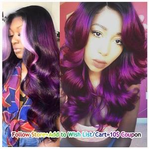 T1B/фиолетовый Омбре волнистые волосы 4 пучка два тона темные корни бразильские волосы плетение пучки 100% человеческие волосы уток Lolly Non Remy