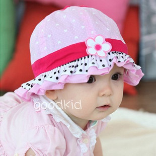 New Arrival Flower Beach Sun Cap Spring Baby Caps Lace Children's Summer Hats Bucket Cap Cute Polka Dot Pattern Kids' Headwear