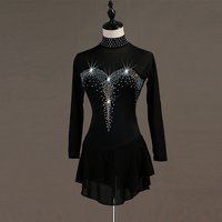 Figure Skating Dress Customized Competition Black Ice Skating Skirt for Girl Women Kids Patinaje Gymnastics Performance B029