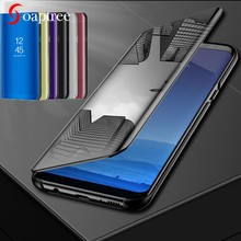Smart Mirror Leather Cases For Huawei Y7 Y6 Y9 Y5 Prime Lite 2018 2017 2019 Case For Honor 7C 7A Pro Holly 4 Plus Flip Cover(China)