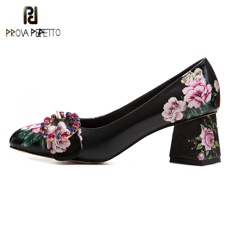 Prova Perfetto Fashion Rhinestone Flower High Heels Shoes Woman Square Toe Real Leather Zapatos Mujer Tacon Women Party Shoes