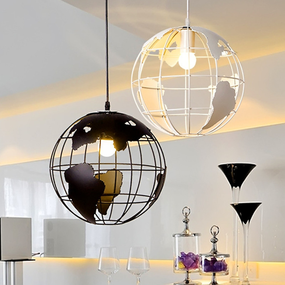 Pendant Light 28cm Black/White Creative Globe Earth Iron Pendant Lamp Edison Bulb for Kitchen Dining Room Restaurant Decoration black iron lampshade abajur diameter 38cm big home light dining room kitchen pendant light pendant lamp e27 e26 bulb fitting