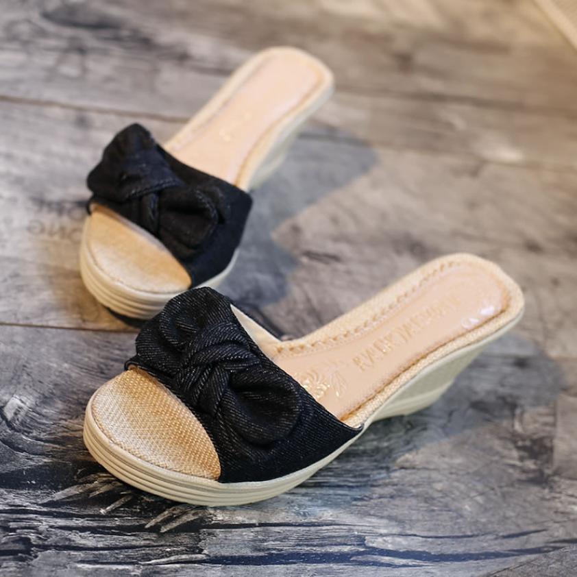 Plate Pantoufles Grand Femme Flops Flip Sandales Pour glissement forme Noir 41 Chaussures Non Plage 35 Bowtie Femmes Taille D'été bleu Sw0O7