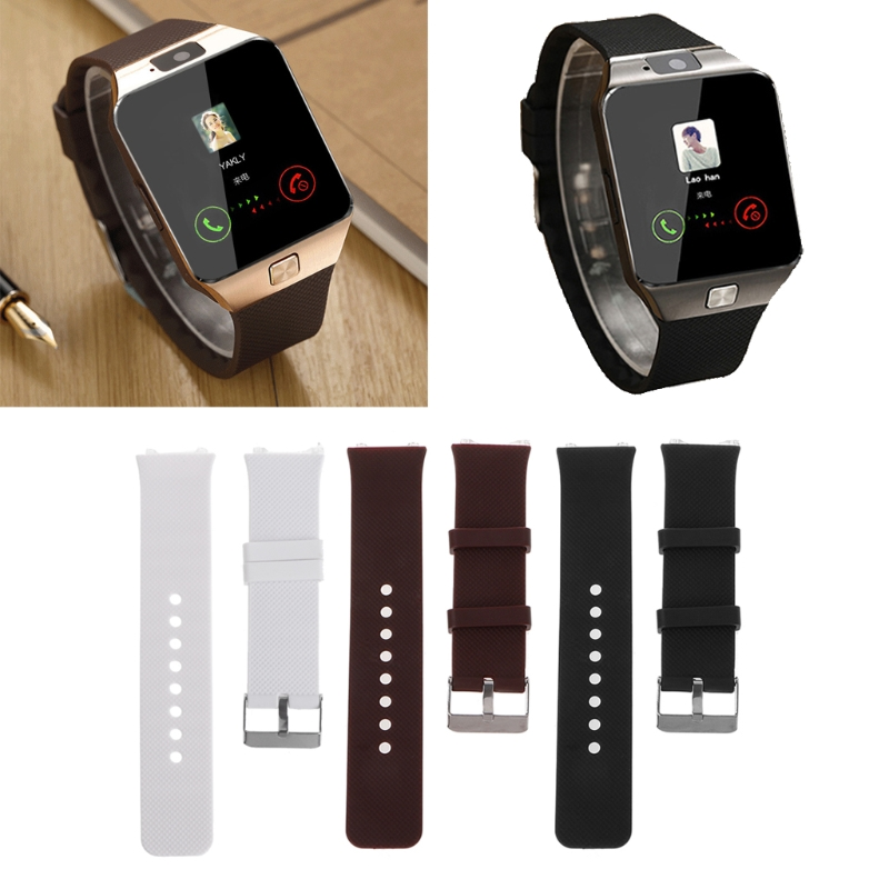 Smart Watch Strap Silicone Wrist Band Strap Metal Buckle Bracelet Replacement For DZ09 Smart Watch