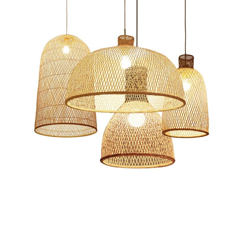 Bambou Art LED lustre en bois osier E27 Style chinois lampes suspendues  Suspension maison intérieure salle à manger cuisine Luminaire