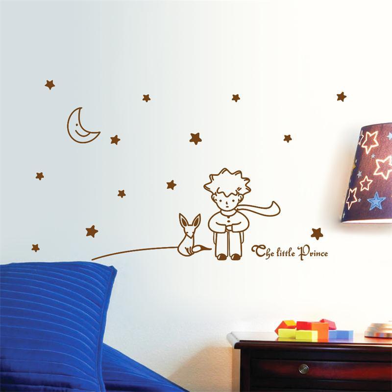HTB1EuowMpXXXXXqXpXXq6xXFXXXu - popular book fairy tale the Little Prince With Fox Moon Star wall sticker for kids room