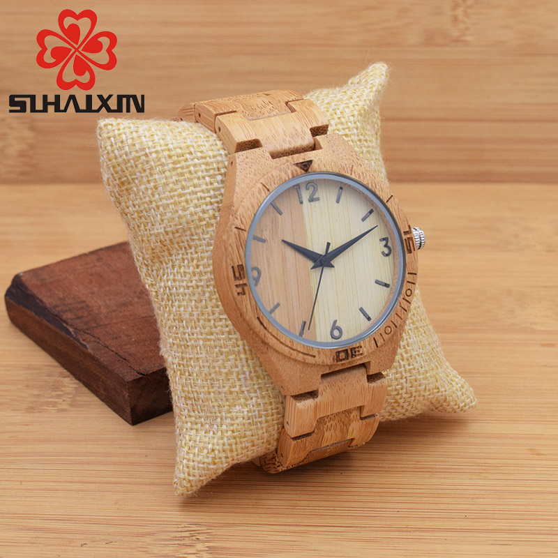 SIHAIXIN Wood Watch Men Analog Quartz Wristwatch With Nature Wooden Handmade Creative Luxury Gift With Box Men's Bangle Watches yisuya simple fold clasp quartz wristwatch handmade bamboo analog women creative watches men bangle nature wood relogio gift