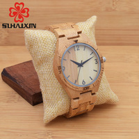 SIHAIXIN Wood Watch Men Analog Quartz Wristwatch With Nature Wooden Handmade Creative Luxury Gift With Box