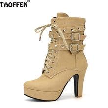 Taoffen/женская обувь сапоги среднего до середины икры зимняя обувь Плюшевые на молнии с заклепками повседневные туфли на высоком каблуке модная зимняя обувь Размеры 32-47