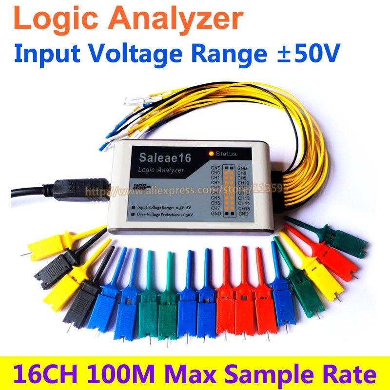 USB Logic Analyzer 100M max sample rate,16Channels,10B samples, MCU,ARM,FPGA debug tool  цены