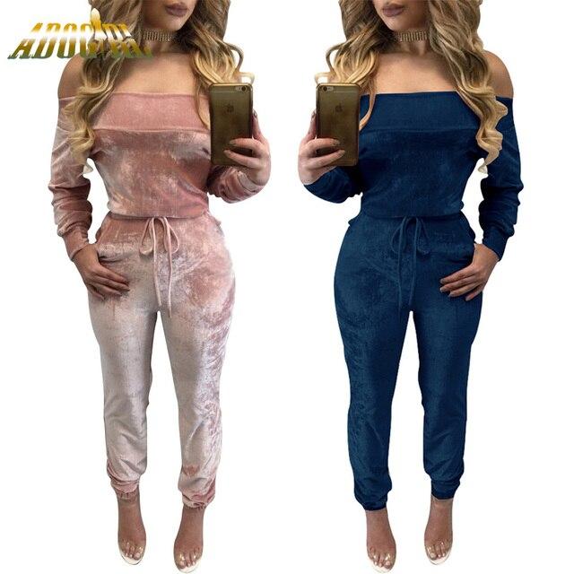 b5e5634e418 Adogirl Autumn Winter Off Shoulder Long Sleeve Velvet Jumpsuit Women Sexy  Hollow Out Lace Up Rompers Bodysuit Overalls Plus Size