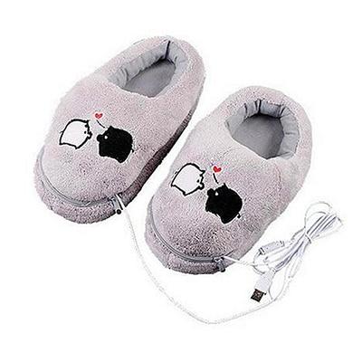 1 Pair USB Powered Cushion Shoes Electric Heat Slipper USB Gadget Cute Grey Piggy Plush USB Foot Warmer Shoes 1