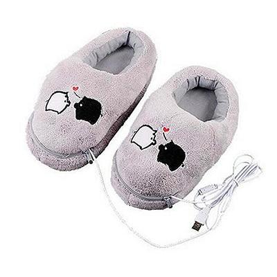 1 Pair USB Powered Cushion Shoes Electric Heat Slipper USB Gadget Cute Grey Piggy Plush USB Foot Warmer Shoes