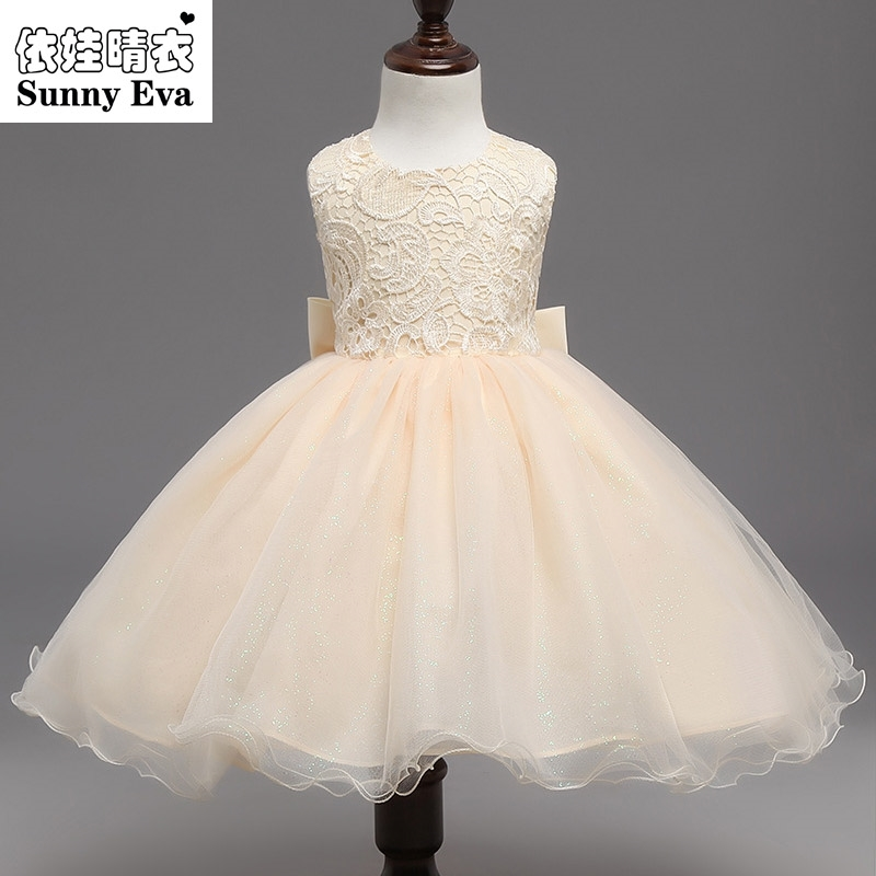 sunny eva Cream party girl dress christmas dress kids Girls Children summer clothes princess costumes for kids wedding dresses