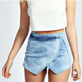 2017 Mulheres Verão Shorts Saias Moda Vintage Criss Cross-Short Jeans de Cintura Alta Sexy Shorts Jeans de Lavagem de Ácido WSSL024
