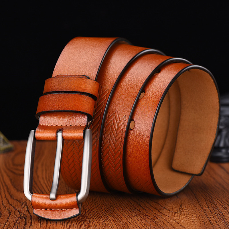 Hearty El Barco Leather Belt For Men Black Coffee High Quality Designer Male Belts Cowhide Luxury Brown Casual Waist Strap Pin Buckles Men's Belts