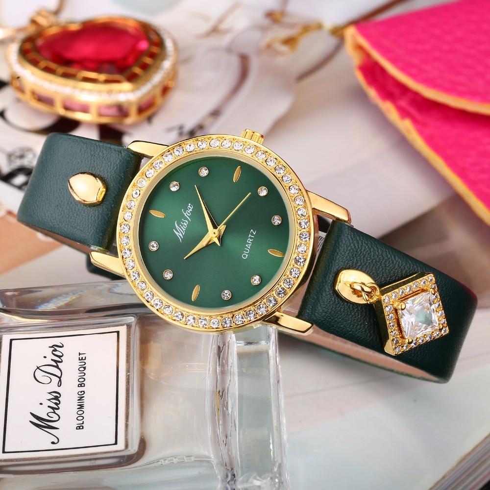 Montre Femme missfox verde Oro Femenina exquisita señoras reloj de cuero impermeable colgante cuadrado piedras preciosas xfcs reloj horas