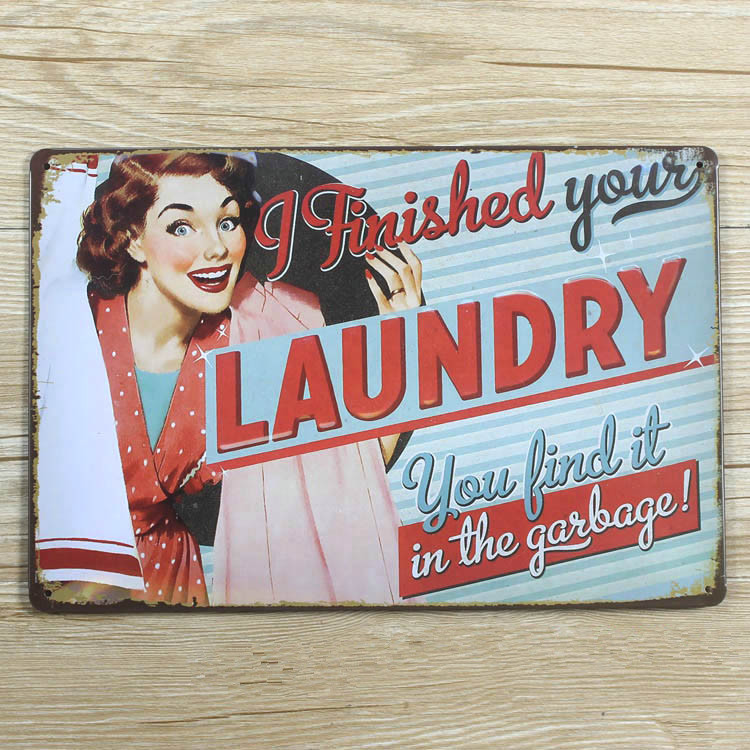 sp jt 006 new metal painting vintage tin signs finish your laundry