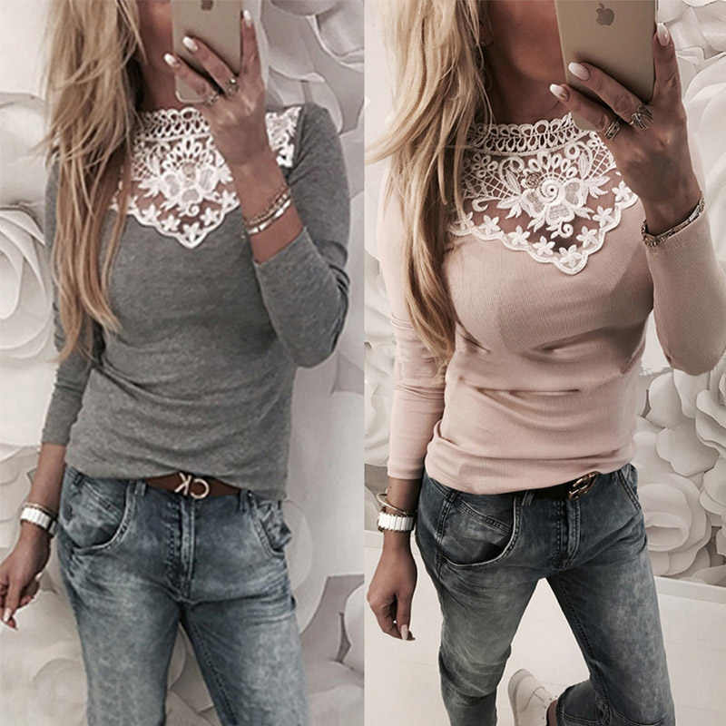 Lente Herfst vrouwen Lace Blouse Shirt Sexy Wit Rood Grijs Zwart Tops Party Meisjes Blusas Shirts 2018 Fashion