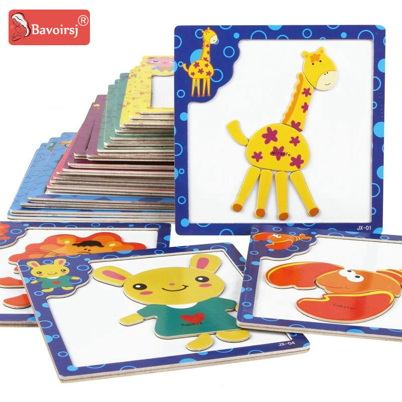 Early Educational Baby Montessori Toys Magnetic Wooden Puzzle Cognition Learning Kids Waldorf Toys Hobbies For Children T0305