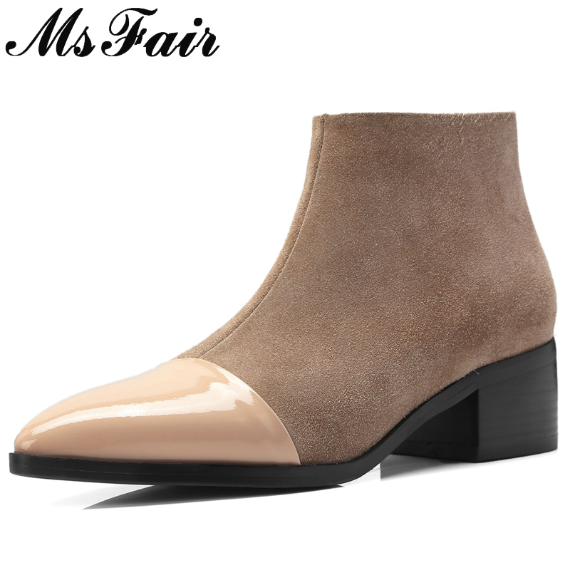 MsFair Pointed Toe Med Heel Women Boots Genuine Leather Zipper Ankle Boots Women Shoes Elegant Black Khaki Boots Shoes Woman msfair pointed toe super high heel women boots fashion zipper ankle boots women shoes elegant thin heels black khaki boots shoes