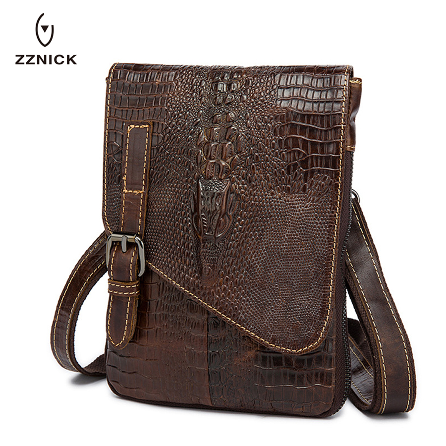 ZZNICK Male Bag Genuine Leather Messenger Bag Men Leather Shoulder Bags male Small Casual Crossbody Bags for Man mini ipad Flap* цена 2017