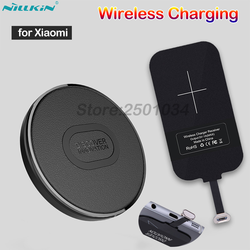 Nillkin Portable Mini Qi Fast Wireless Charger+Type-A Receiver Wireless Charging for Xiaomi Redmi 4X /Note 4X /5A /5 /5 Plus