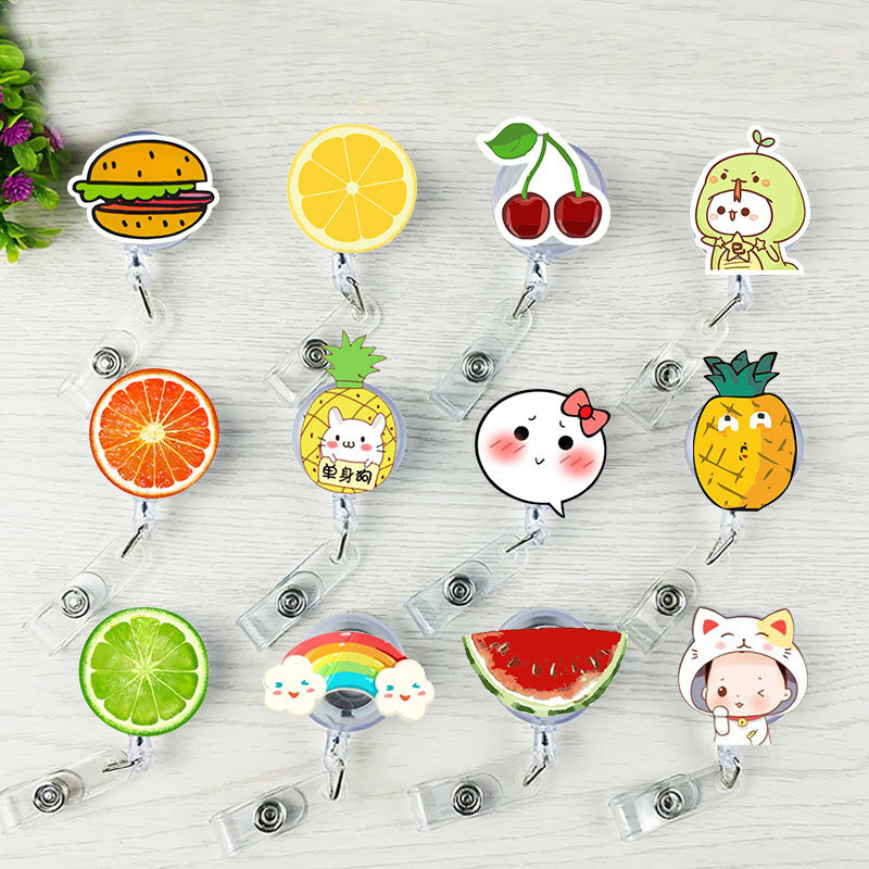 Fruit Pineapple Watermelon Cherry Retractable Pull Badge Reel ID Lanyard Name Tag Card Badge Holder Reels For KIDS Adults