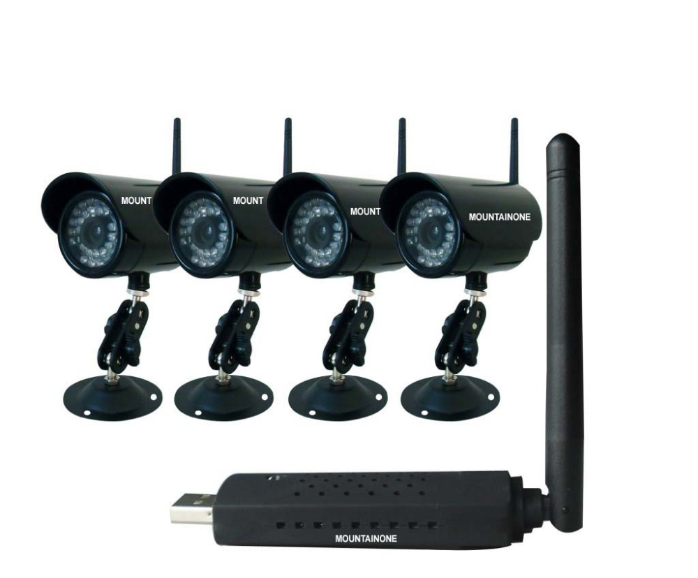 MOUNTAINONE New HD wireless home suite surveillance camera 4 channel font b computer b font synchronization