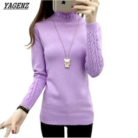 YAGENZ Autumn Winter Women Turtleneck Sweater Knitwear Slim Solid Pullover Warm Casual Long Sleeved Shirt Sweater